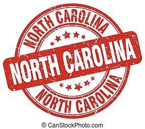 North Carolina red grunge round vintage rubber stamp
