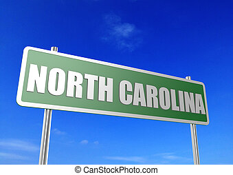 North Carolina - Rendered artwork with blue sky as...