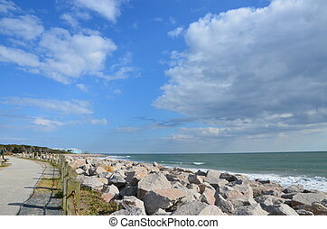 A view of the rocks along the shore in North Carolina
