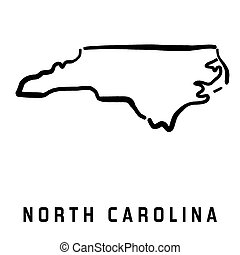 North Carolina simple logo. State map outline - smooth simplified US state shape map vector.