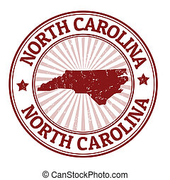 Grunge rubber stamp with the name and map of North Carolina, vector illustration