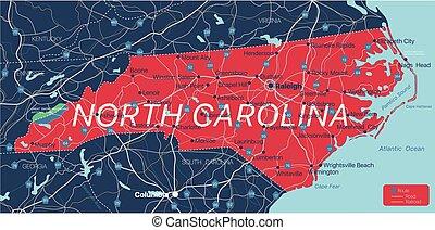 North Carolina state detailed editable map