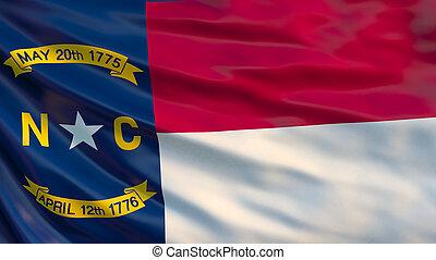 North Carolina state flag. Waving flag of North Carolina state, United States of America. 3D Illustration