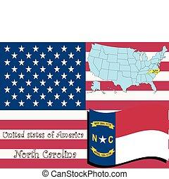 north carolina state illustration, abstract vector art
