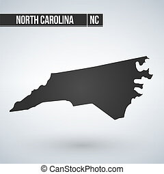 North Carolina state map in black on a white background. Vector illustration.