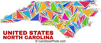 North Carolina State Map - Mosaic of Color Triangles