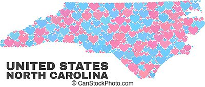 North Carolina State Map - Mosaic of Lovely Hearts