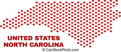 North Carolina State Map - Mosaic of Valentine Hearts