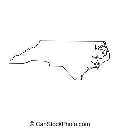 North Carolina, state of USA - solid black outline map of country area. Simple flat vector illustration.
