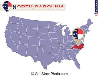 North Carolina State on USA Map. North Carolina flag and map.