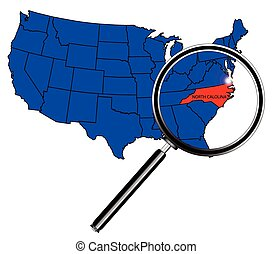 North Carolina state outline set into a map of The United States of America under a magnifying glass