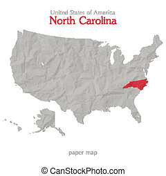 United States of America map and North Carolina state territory isolated on white background