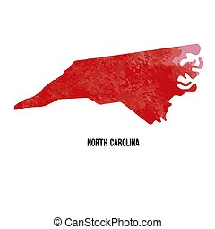 North Carolina. United States Of America. Vector illustration. Watercolor texture.