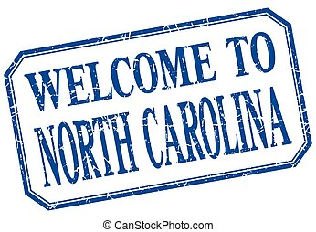 North Carolina - welcome blue vintage isolated label