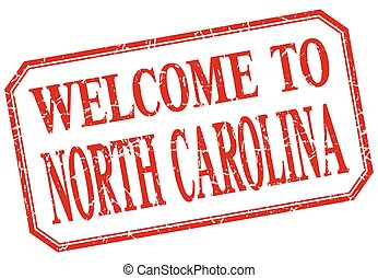 North Carolina - welcome red vintage isolated label