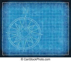 north compass map arrow bluepriint