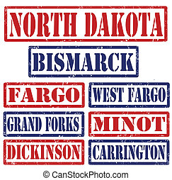 Set of North Dakota cities stamps on white background, vector illustration