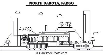 North Dakota, Fargo architecture line skyline illustration. Linear vector cityscape with famous landmarks, city sights, design icons. Landscape wtih editable strokes