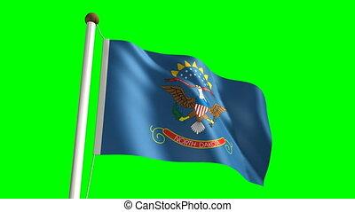 North Dakota flag (with green scree - 3D North Dakota flag...