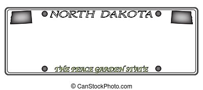 North Dakota License Plate - A North Dakota state license...
