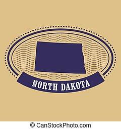 North Dakota map silhouette - stamp