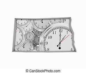 North Dakota ND Clock Time Passing Forward Future 3d Illustration