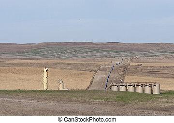 North Dakota landscape with a new pipeline