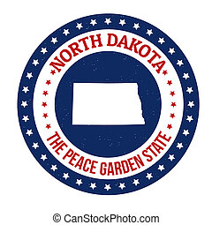 Vintage stamp with text The Peace Garden State written inside and map of North Dakota, vector illustration