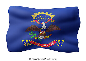 3d rendering of a detailed and textured North Dakota USA State flag on white background.