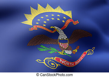 3d rendering of a detailed and textured North Dakota USA State flag