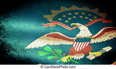 North Dakota State Flag Waving, grunge look
