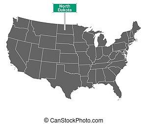 North Dakota state limit sign and map of USA