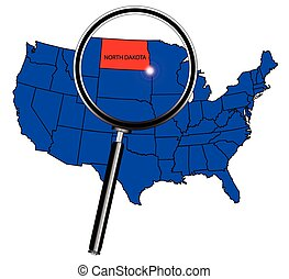 North Dakota state outline set into a map of The United States of America under a magnifying glass