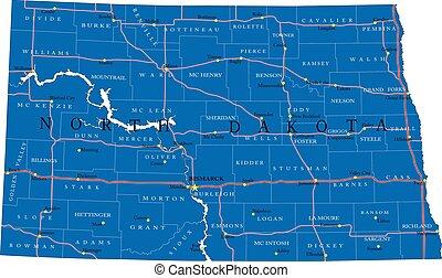 North Dakota state political map