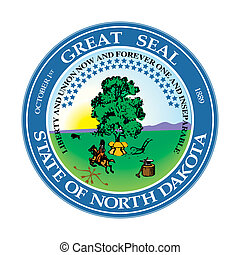 Seal of American state of North Dakota; isolated on whiite background.