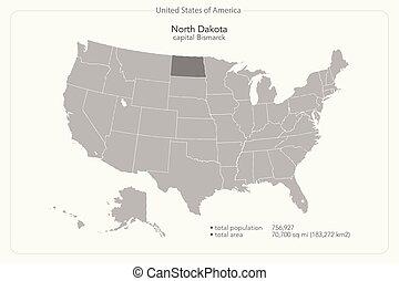 north dakota - United States of America isolated map and ...