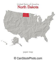 United States of America map and North Dakota territory isolated on white background