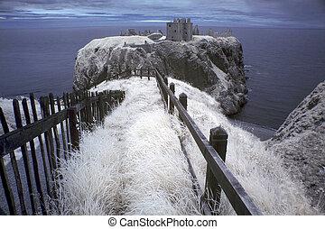 north-east, 中世, 位置を定められた, スコットランド, に, 台無しにされる, 岬, gb, 城, 海岸, dunnottar, 要塞, 岩が多い