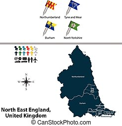 North East England, United Kingdom - Vector map of North...
