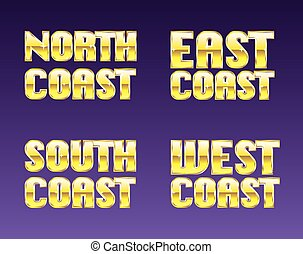 North East South West Coast golden letters