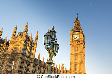 Big Ben with Houses of Parliament - North face of Big Ben...