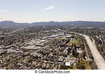 North Hollywood California Freeway Aerial