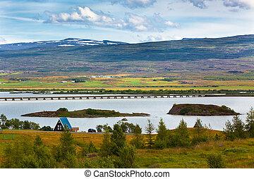 Icelandic Landscape: View of Fellabaer Village (Egilsstadir)...