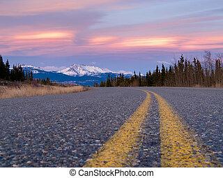 North Klondike Hwy near Whitehorse Yukon Canada - Early...