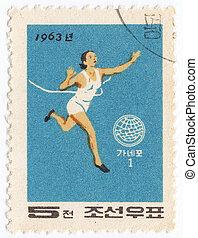 NORTH KOREA - CIRCA 1963 : post stamp printed in North Korea...