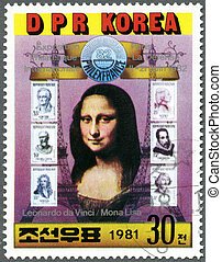 NORTH KOREA - CIRCA 1981: A stamp printed in DPR Korea shows Mona Lisa and six French stamps, Philexfrance '82 International Stamp Exhibition, Paris, circa 1981