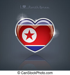 North Korea - Glossy heart shape flags of the Worlds:...