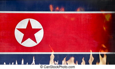 North Korea Flag in Fire And Waving in the Wind - 4K...