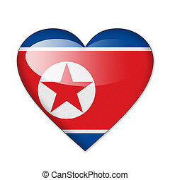 North Korea flag in heart shape isolated on white background