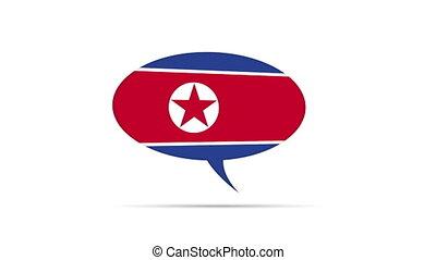 North Korea Flag Speech Bubble - Spinning North Korea Flag...